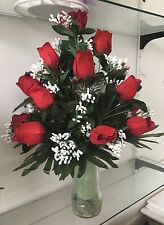 Silk Red Roses w/baby breath for Cemetary Vase 22'' NICE! Free Shipping