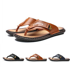 Mens Slip On Clip Toe Flat Heel Solid Outdoor Beach Slippers Flip Flop Sandals A