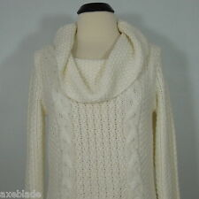 CHICO'S Women's Ivory Knit Cable Cowl Neck Sweater size 1
