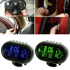 US 12-24V Car LCD Digital Clock In/Outdoor Temperature Thermometer Voltage Meter