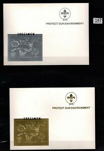 /// GUYANA - MNH - SPECIMEN - GOLD+SILVER - SCOUTS, DOGS, CATS, DINOSAURS