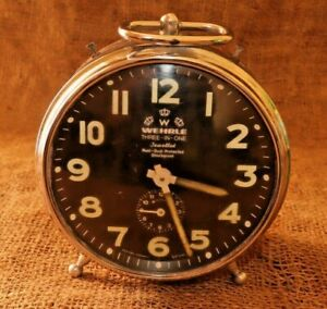 Vintage 'WEHRLE' THREE-IN-ONE Alarm Clock Mechanical Made in Western Germany #81