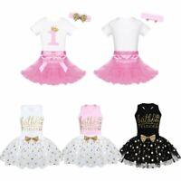 Toddler Birthday Outfit Newborn Baby Girls Party Tutu Skirt Dress Romper Costume
