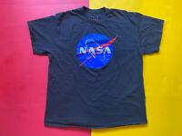 Men's T-shirt NASA Vintage Logo Cotton Funny Short Sleeve Black Shirt  Size XL
