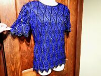 STENAY VINTAGE BEADED BLOUSE blue silk sequined heavily embellished top Sm 3B