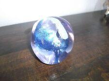 Caithness Pebble Art Glass Paperweight, Scotland, C38558, Blue White Purple,