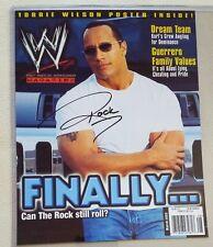 Rare The ROCK Dwayne Johnson  hand SIGNED top loader 8.5x10.5 MAG Photo WWE WWF