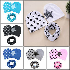 Boy Girls Child Newborn Baby Infant Toddler Kids Cotton Hat Beanie Cap + Scarf