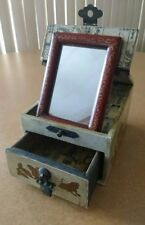 Chinese Jewelry Box--One Drawer, Ornate Inside and Out--Clever Folding Mirror