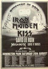 IRON MAIDEN KISS GUNS N' ROSES 1988 POSTER ADVERT MONSTERS OF ROCK DONINGTON