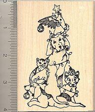 Christmas Pet Tree Rubber Stamp, Dog, Cat, Cockatoo  O3613 WM