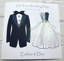 Beautiful Handmade Wedding Day Card- men/women bride & groom personalised