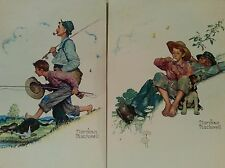Vintage Norman Rockwell prints Lot of 2 Grand Pa, Boy & their Dog