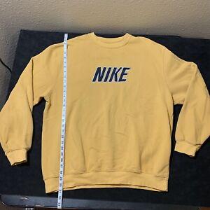 Vintage Nike Men XL Crewneck 90s Sweatshirt Big Spell Out Yellow Silver Tag