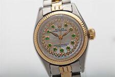 Estate OYSTER 18k Yellow Gold SS Ladies Emerald Diamond Genuine Rolex Watch WTY