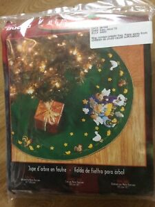 Bucilla Felt Applique Christmas Tree Skirt Kit New