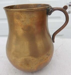 Antique Brass Pitcher - THICK & HEAVY - Perhaps 18th Cent. - With Great Repairs