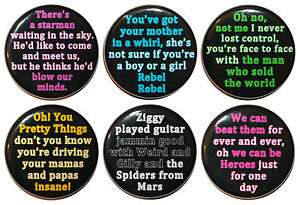 """32mm (1.25"""") David Bowie Lyric Button Badge Pins / Magnets - Made in UK"""