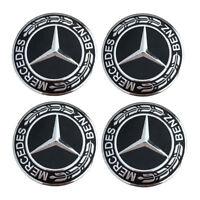 4Pcs75mm Wheel Center Caps Rim Hub Cap Car Logo Emblem Black for Mercedes Benz