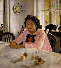 Girl with peaches. Portrait of V.S. Mamontova Serow Mädchen Pfirsiche B A3 03422