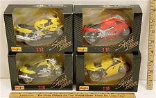 4 Pc Lot Maisto 1:18 Motorcycles Moto Guzzi Ducati Honda CBR Kawasaki Ninja  NOC