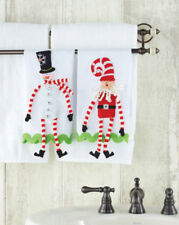 Gift SANTA SNOWMAN TOWELS SET OF 2 Tis The Season Collection New 122406
