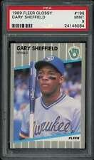 Gary Sheffield Rookie Card 1989 Fleer Glossy #196 PSA 9