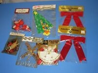 Vintage Lot 7 NOS Christmas Tie On Package Decor tinsel chenille mercury glass