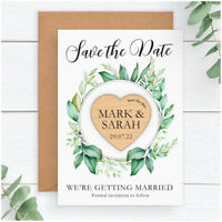 Save The Date Wooden Heart Magnets PERSONALISED Eucalyuptus Save The Date Cards