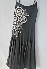 Manyus Dress Silk XS Black Floral Lined Spaghetti Straps