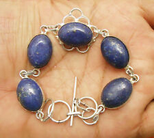 "Lapis Lazuli Gemstone Bracelet 925 Silver Overlay Size 8.5"" U183-A15"