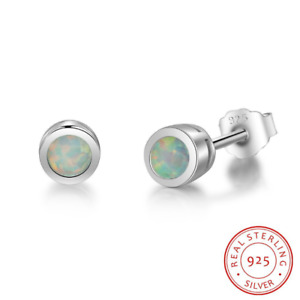 4mm Round Lab Created Opal Stud Tiny Earrings Sterling Silver 925 Set Gift PE21