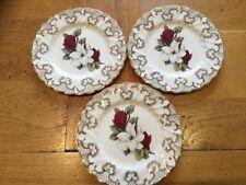 "3 x Vintage Myott's China Lyke Ware ""Christmas Rose"" Side Plates 6"" Diameter"