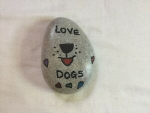 Hand Painted Stone Depicting Love Dogs