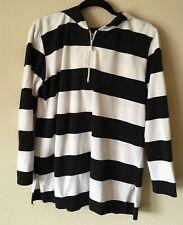 Villager Sport by Liz Claiborne Women Black White Stripe Hoodie Pullover, Size L
