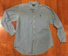 Mens Ralph Lauren Blake Blue White Plaid Long Sleeve Button Front Dress Shirt M