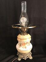 "Vintage L&L WMC 1971 3 Way Hurricane Table Lamp BASE ONLY Floral Excellent 14"""