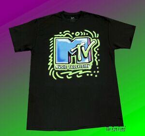 New MTV Graffiti Airbrush Black Neon Green Classic Mens T-Shirt