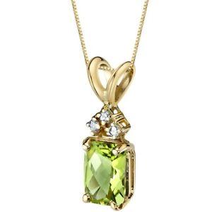 Oravo 14 Kt Yellow Gold Radiant Cut 1.00 cts Peridot Diamond Pendant