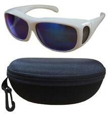 100%UV Polarized sunglasses cover over Rx glass- white frame w/blue len+fit case