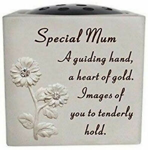 Special Mum Grave Memorial Flower Holder Vase Stone Plaque Sentimental Pot Verse