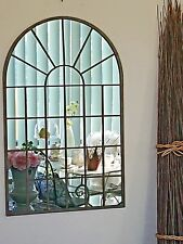 77cm high PROVINCIAL FRENCH  arched WINDOW MIRROR RUST INDOOR OUTDOOR  NEW