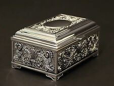 Medium Rectangular Silver Color Jewellery Trinket Treasure Chest / Box