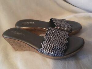 WHITE MT LISETTE Sandals Cork Wedge Heels ITALY NEW SZ 6 M