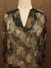 NOS NEW Vtg 1970s Sheer Nylon Metallic Floral Pullover Shirt M Boho Indie Caftan