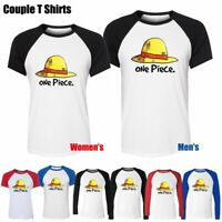One Piece D Luffy Straw Hat Design Couple T-Shirt Men's Women's Graphic Tee Tops
