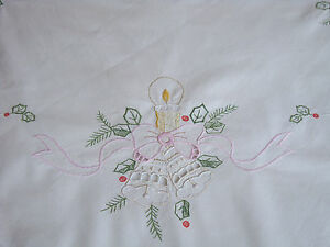 Vintage Christmas Xmas Embroidered German Tablecloth w/ Candles & Fir Branches