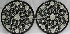 18 Inches Marble Coffee Table Top Inlay with MOP Bed Side Table Set of 2 Pieces