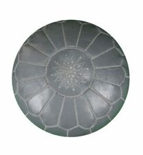 Moroccan Leather pouf Handmade Ottoman Luxury Pouffe Grey Footstool