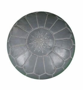 Moroccan Leather pouf Handmade Ottoman Luxury Pouffe Grey Footstool